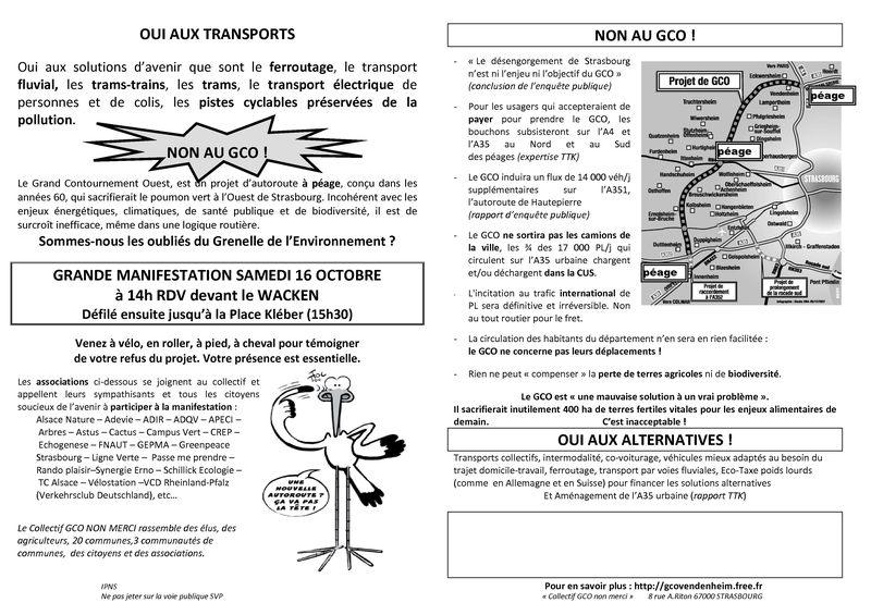 Le tract de la manifestation d'octobre
